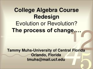 College Algebra Course Redesign Evolution or Revolution? The process of change….