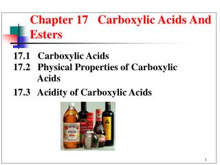 Chapter 17   Carboxylic Acids And Esters