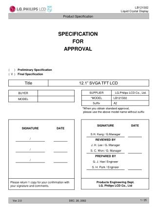 SPECIFICATION FOR APPROVAL