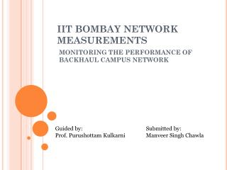 IIT BOMBAY NETWORK MEASUREMENTS