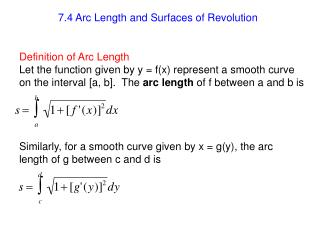 7.4 Arc Length and Surfaces of Revolution