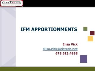 IFM APPORTIONMENTS
