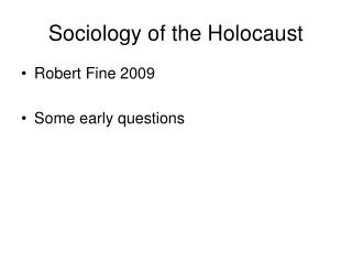 Sociology of the Holocaust