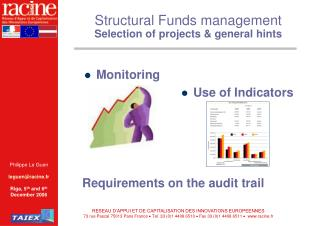 Structural Funds management  Selection of projects & general hints