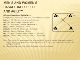 Men's and Women's basketball Speed and Agility