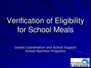 Verification of Eligibility for School Meals
