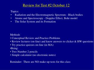 Review for Test #2 October 12