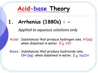 Acid- base Theory
