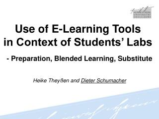 Use of E-Learning Tools  in Context of Students' Labs