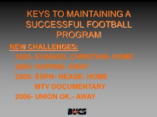 KEYS TO MAINTAINING A SUCCESSFUL FOOTBALL PROGRAM