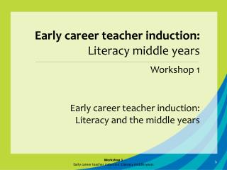 Early career teacher induction: Literacy and the middle years