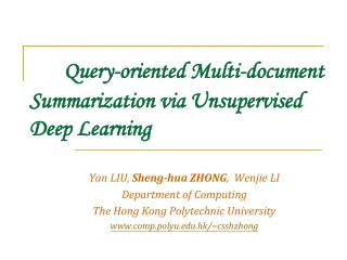 Query-oriented Multi-document Summarization via Unsupervised Deep Learning