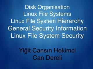 Disk Organisation Linux File Systems Linux File System  Hierarchy General Security Information Linux File System Securit