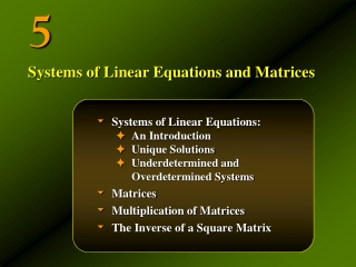 Systems of Linear Equations: An Introduction Unique Solutions Underdetermined and