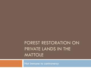Forest Restoration on private lands in the  mattole
