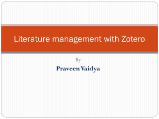 Literature management with Zotero
