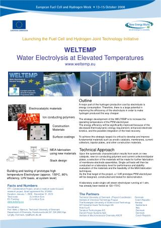 WELTEMP Water Electrolysis at Elevated Temperatures weltemp.eu