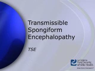 Transmissible Spongiform Encephalopathy