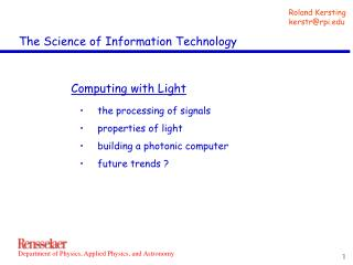 The Science of Information Technology