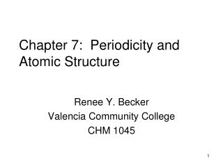Chapter 7:  Periodicity and Atomic Structure