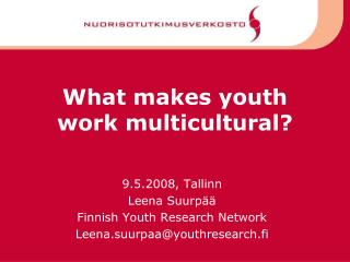 What makes youth work multicultural?