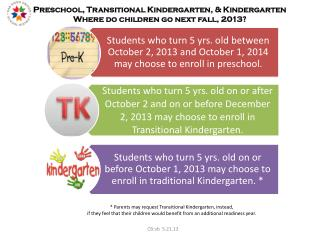 Preschool, Transitional Kindergarten, & Kindergarten Where do children go next fall, 2013?