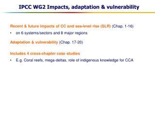IPCC WG2 Impacts, adaptation & vulnerability