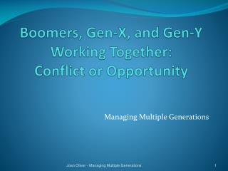 Boomers, Gen-X, and Gen-Y Working Together:   Conflict or Opportunity