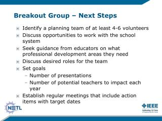 Breakout Group – Next Steps