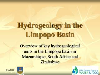 Hydrogeology in the Limpopo Basin