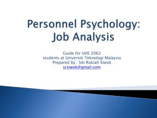 Personnel Psychology: Job Analysis