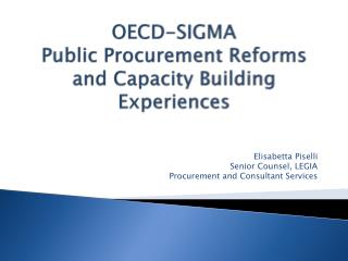 OECD-SIGMA  Public Procurement Reforms and Capacity Building Experiences