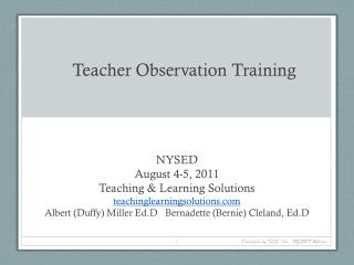 Teacher Observation Training