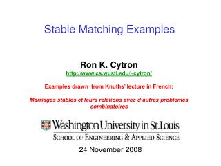 Stable Matching Examples
