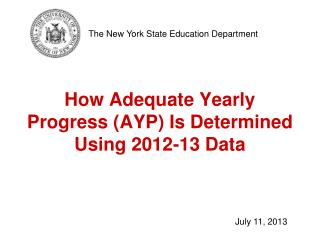 How Adequate Yearly Progress (AYP) Is Determined Using 2012-13 Data