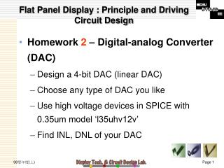 Flat Panel Display : Principle and Driving Circuit Design