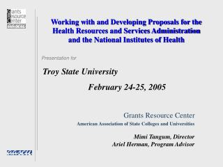 Working with and Developing Proposals for the Health Resources and Services Administration and the National Institutes o