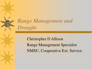 Range Management and Drought