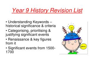 Year 9 History Revision List