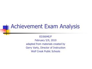 Achievement Exam Analysis