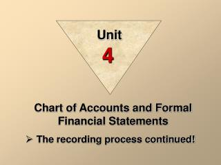 Chart of Accounts and Formal Financial Statements The recording process continued!