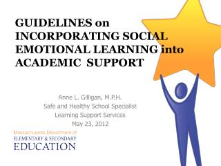 GUIDELINES on INCORPORATING SOCIAL EMOTIONAL LEARNING into ACADEMIC  SUPPORT