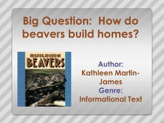 Big Question:  How do beavers build homes?