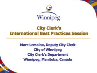 City Clerk's International Best Practices Session