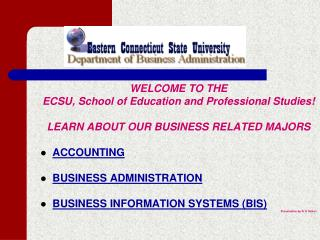 WELCOME TO THE ECSU, School of Education and Professional Studies!