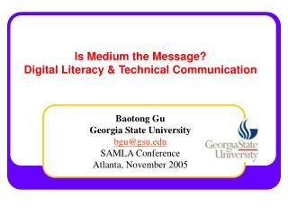 Is Medium the Message?  Digital Literacy & Technical Communication