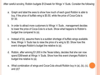 After careful scrutiny,  Robbin  budgets $12/week for Wings 'n' Suds. Consider the following: