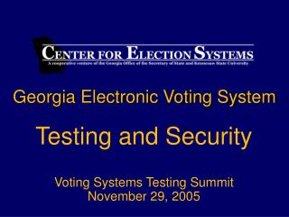 Georgia Electronic Voting System
