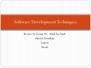 Software Development Techniques