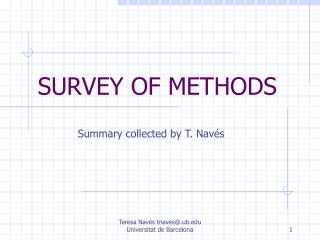 SURVEY OF METHODS